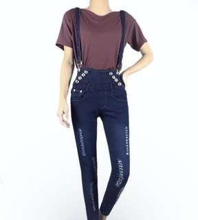 2 in 1 Jumper High Waist Ripped Skinny Jeans