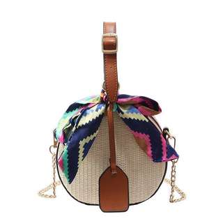 Rattan straw ribbon sling bag