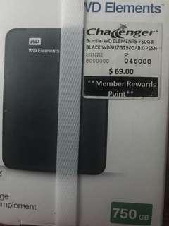 Brand New Western Digital 750 GB only 60 SGD