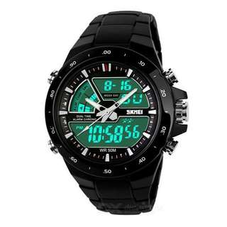 Jam Tangan Pria / SKMEI Men / Digital LED + Analog / AD 1016