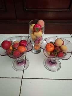 3 pc pajangan lomari buah - buahan plastik