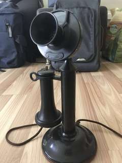 Antique telephone candlestick 1910 (wired to work with original parts)