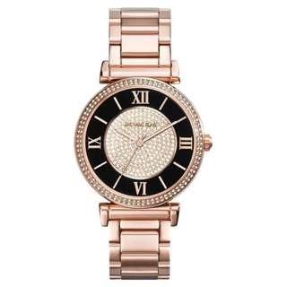 CATLIN BLACK DIAL ROSE GOLD-PLATED LADIES WATCH MK3339