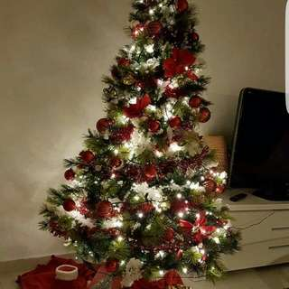Fully Decorated Artificial Christmas Tree