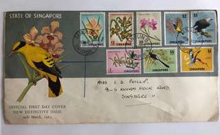Singapore 1962 Fishes and Orchid fdc