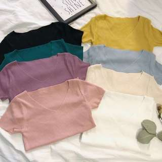 V Neck Short Sleeve T-shirt Knitted Tee Clothes Blouse (Pre-order)