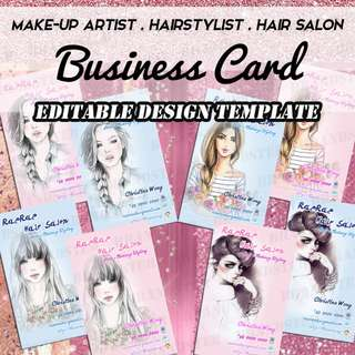 8x Business Card Design Bundle - Fashion Makeup Artist MUA Hair Stylist Salon Business Card, Graphic Design, Digital File Branding package