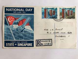 Singapore 1963 Registered National day Fdc