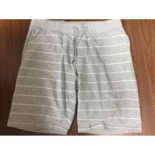 Uniqlo mens Easy Shorts jersey stripes white gray L