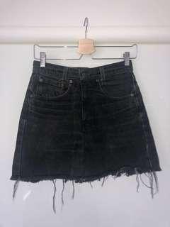 Black Washed Levi Strauss Denim Skirt