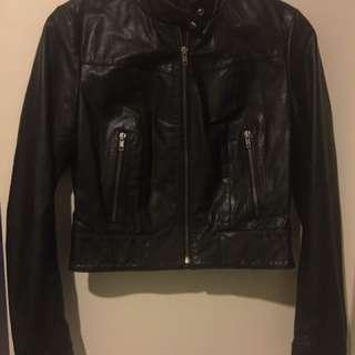 Bisonte Lamb Skin Leather Black Jacket Size 6