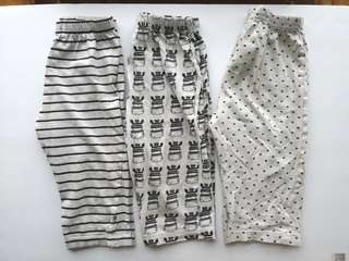 PRELOVED MOTHERCARE Set of 3 Baby's Black & White Cotton Sleep Pants - in very very loved condition
