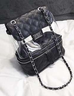 黑色菱格透明背包