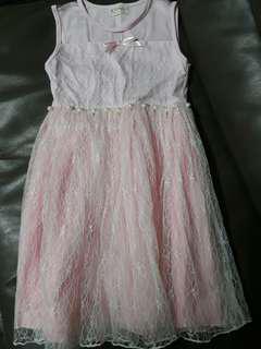 全新 粉色 珍珠蕾絲洋裝 小禮服💕