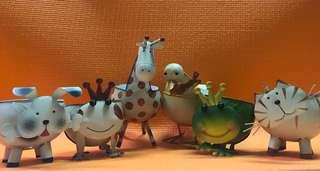 (藝術品割愛)金屬動物飾物杯擺設 (六隻)