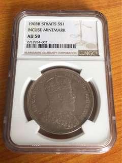 Straits Settlements 1903 AU silver dollar coin