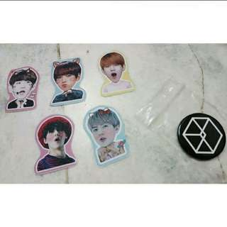 EXO Pin Badge+Stickers