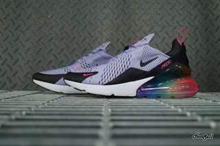 耐克Nike air max 270 betrue後半掌氣墊慢跑鞋  be true 淺紫粉黑彩虹 AR0344-500