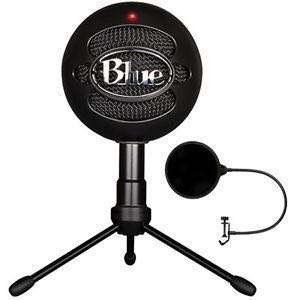 Blue snowball microphone with pop filter
