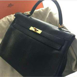 fca8005434a Hermes Kelly 32 Retourne In Black