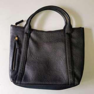Memo black leather handbag