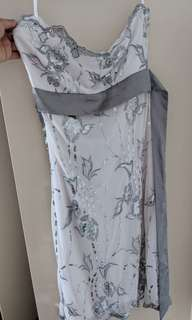 Beautiful white dress with grey/silver glitter design (size 8)