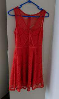 Georgous red lace dress (size 8)