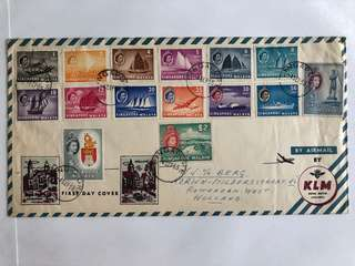 Singapore 1955 QEII complete set on fdc