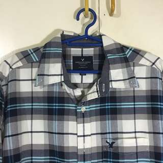 American Eagle Classic Fit Checkered Oxford Long Sleeves