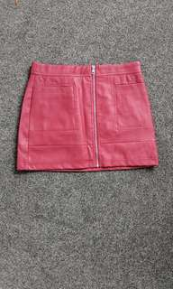 Red leather mini skirt (size 8)