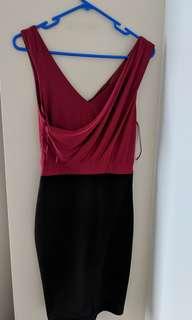 Dark maroon/pink dress with black half (size 8)