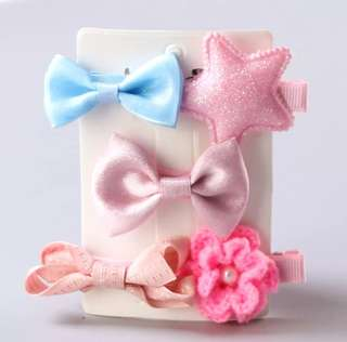 *In Stock* BN Pretty Girls' Assorted Bow Knot Flower Star Hair Clips Accessories Set (Pinks & Blue)