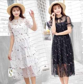 Dress gaun sheer tile white black hitam putib