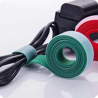 紅色 自粘魔術貼電線綁帶 固定帶 束帶 電線整理 方便 自己剪裁 可重覆使用 每卷1米長