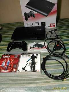 Black Ps3 Super Slim 500GB with 27 Injected Games and 2 free Cds.