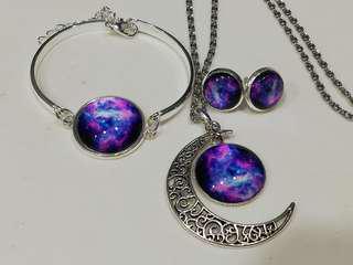 Nebula Necklace Pendent, Stud Earring and Bangle set