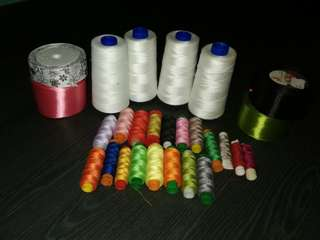 Used Sewing Thread and Ribbons