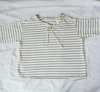 Lace up stripes top