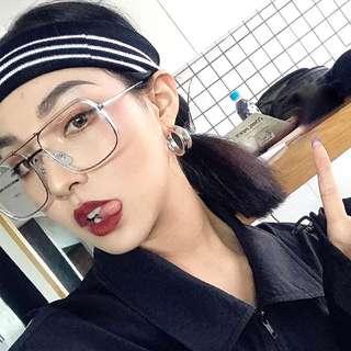 🚚 明星網紅同款大框透明方形眼鏡框個性圓臉百搭平光眼鏡造型框