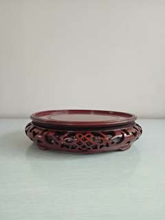 Vintage china wood carving stand height 5cm diameter 18.5cm perfect