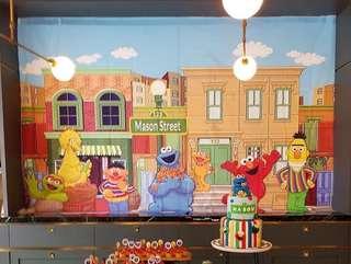 Sesame Street Backdrop Printed Mason