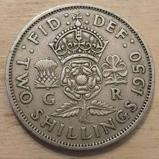 1950 Great Britain King George VI 2 Shillings (Florin) Coin