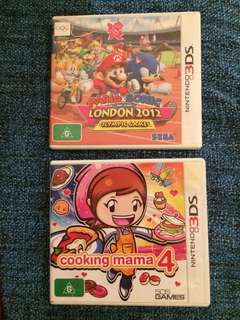 3ds games - mario and sonic london 2012 olympic games & cooking mama 4