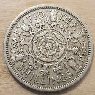 1954 Great Britain Queen Elizabeth II 2 Shillings (Florin) Coin