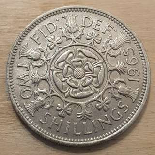 1965 Great Britain Queen Elizabeth II 2 Shillings (Florin) Coin