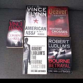4  Bigger Bks Jeffery Deaver Roadside Crosses Robert Ludlum's The Bourne Betrayal The Bourne Sanction   Eric Van Luster Vince Flynn American Assassin (Thriller Bestselling New York Times