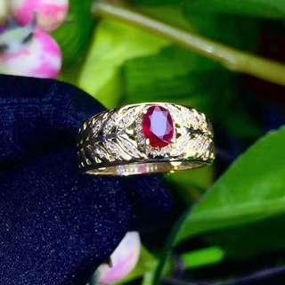 18K金鑽石天然紅寶石戒指