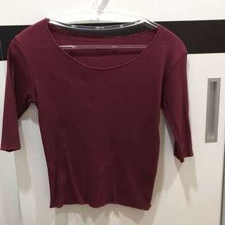 🚚 七分袖紅色上衣