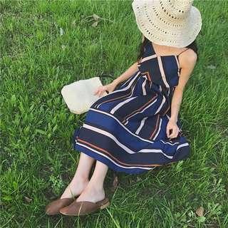 retro Korea chic show thin temperament geometric pattern sling chiffon dress