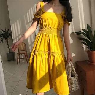 feminine side collar collect waist large dress
